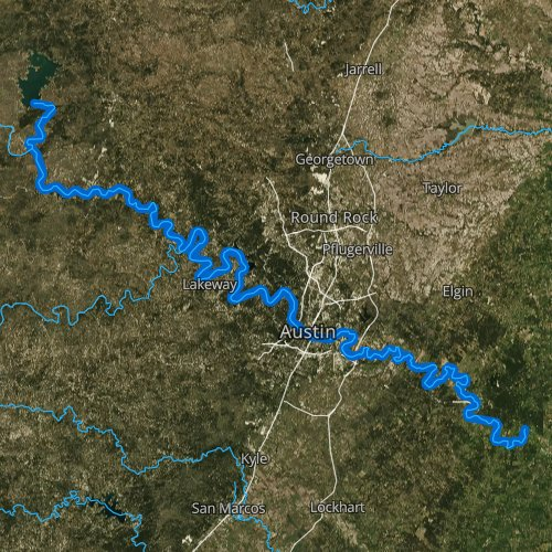 Fly fishing map for Colorado River, Texas