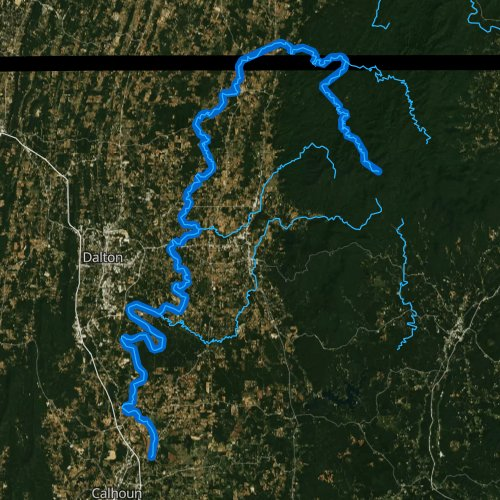 Fly fishing map for Conasauga River, Georgia