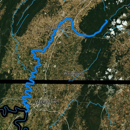 Fly fishing map for Conococheague Creek, Pennsylvania