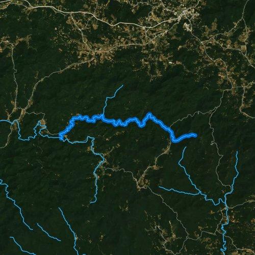 Fly fishing map for Cooper Creek, Georgia