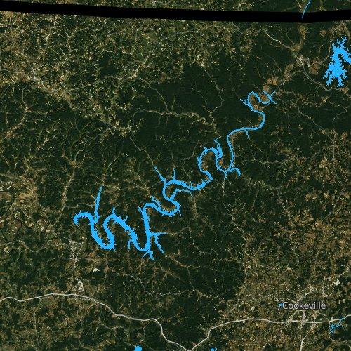 Fly fishing map for Cordell Hull Reservoir, Tennessee