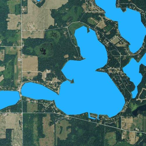 Fly fishing map for Corey Lake, Michigan