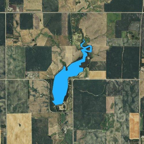 Fly fishing map for Corsica Lake, South Dakota