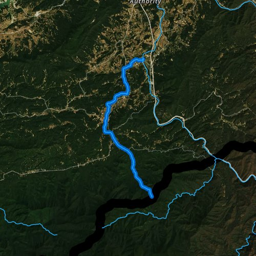 Fly fishing map for Cosby Creek, Tennessee