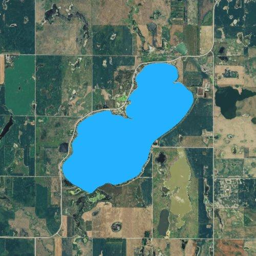 Fly fishing map for Cottonwood Lake: Spink, South Dakota