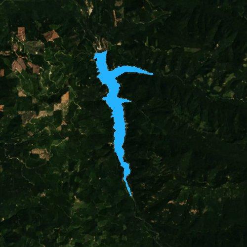 Fly fishing map for Cougar Reservoir, Oregon