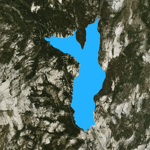 Fly fishing map for Courtright Reservoir, California