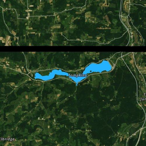 Fly fishing map for Cowanesque Lake, Pennsylvania