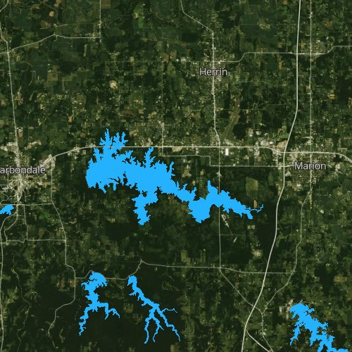 Fly fishing map for Crab Orchard Lake, Illinois