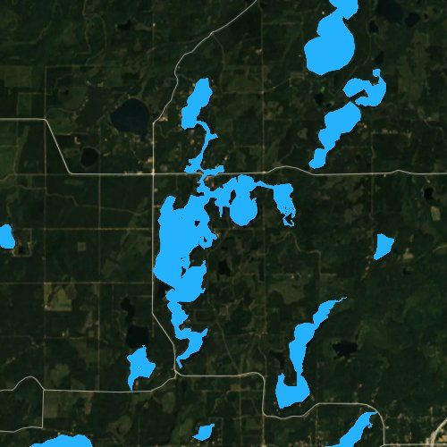Fly fishing map for Cranberry Lake, Wisconsin