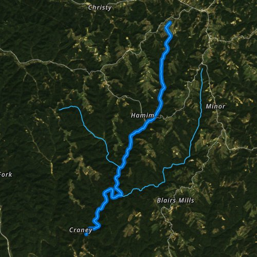 Fly fishing map for Craney Creek, Kentucky