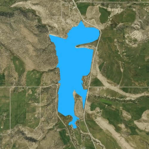 Fly fishing map for Crawford Reservoir, Colorado