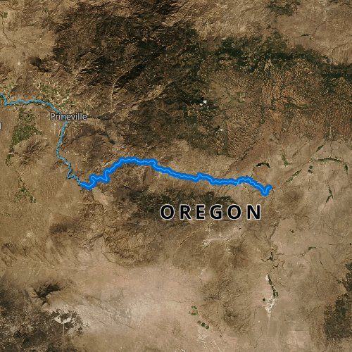 Fly fishing map for Crooked River: Upper, Oregon