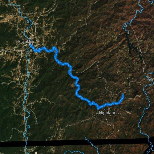 Fly fishing map for Cullasaja River, North Carolina