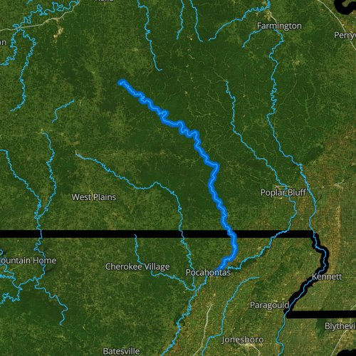Fly fishing map for Current River, Missouri