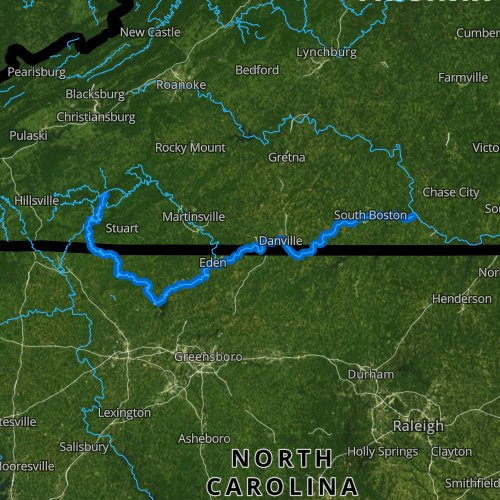Fly fishing map for Dan River, Virginia