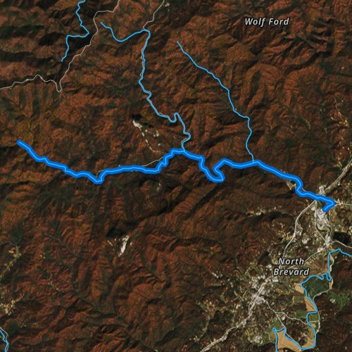 Fly fishing map for Davidson River, North Carolina