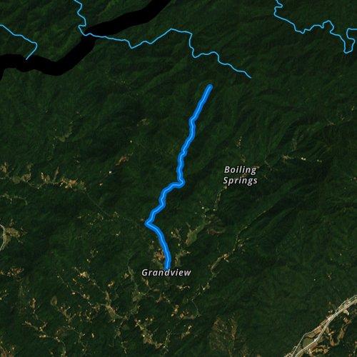 Fly fishing map for Davis Creek, North Carolina