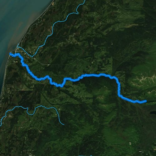 Fly fishing map for Deep Creek, Alaska