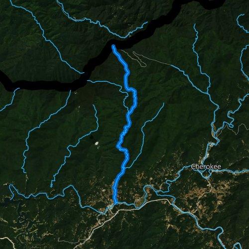 Fly fishing map for Deep Creek, North Carolina