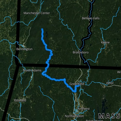 Fly fishing map for Deerfield River, Massachusetts
