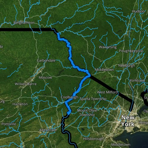 Fly fishing map for Delaware River: Upper, Pennsylvania