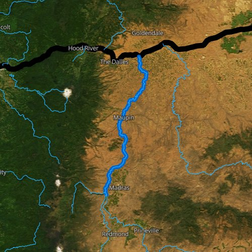 Fly fishing map for Deschutes River: Lower, Oregon
