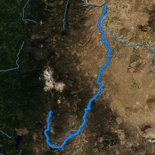 Fly fishing map for Deschutes River: Upper, Oregon