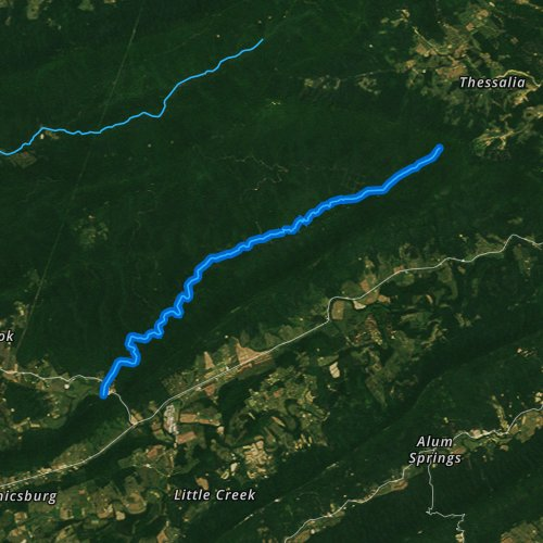 Fly fishing map for Dismal Creek, Virginia
