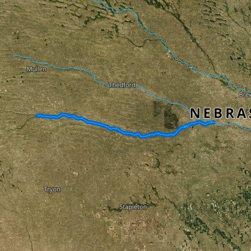 Fly fishing map for Dismal River, Nebraska