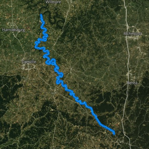 Fly fishing map for Dix River, Kentucky