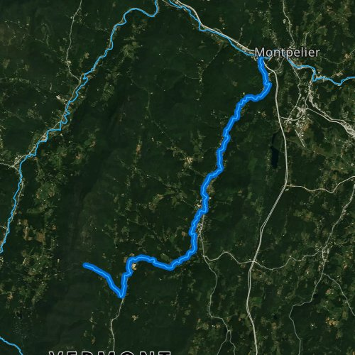 Fly fishing map for Dog River, Vermont