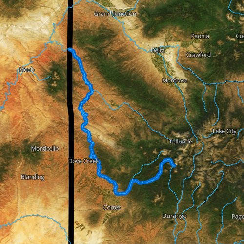 Fly fishing map for Dolores River, Colorado