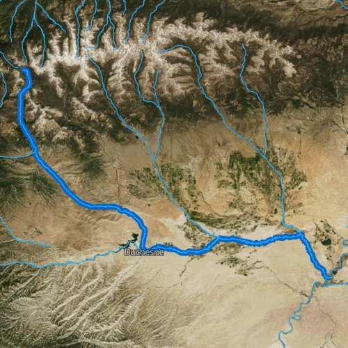 Fly fishing map for Duchesne River, Utah