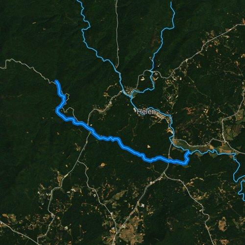 Fly fishing map for Dukes Creek, Georgia
