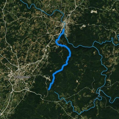 Fly fishing map for Dunbar Creek, Pennsylvania