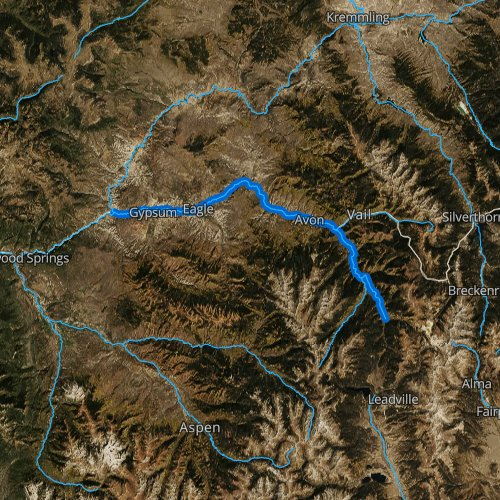 Fly fishing map for Eagle River, Colorado
