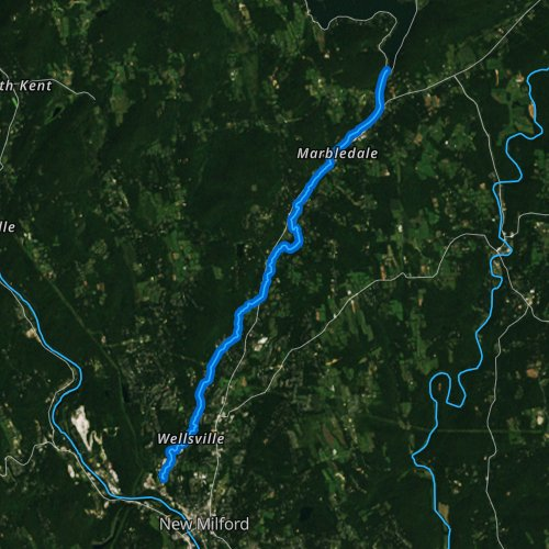Fly fishing map for East Aspetuck River, Connecticut