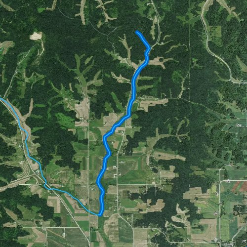 Fly fishing map for East Beaver Creek, Wisconsin