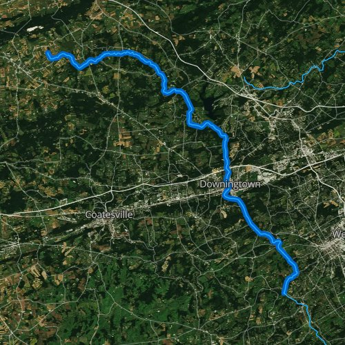 Fly fishing map for East Branch Brandywine Creek, Pennsylvania