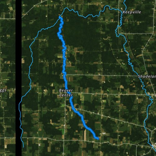 Fly fishing map for East Branch Conneaut Creek, Pennsylvania