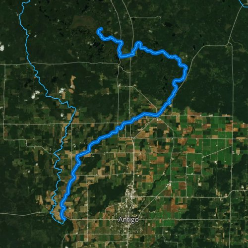 Fly fishing map for East Branch Eau Claire River, Wisconsin