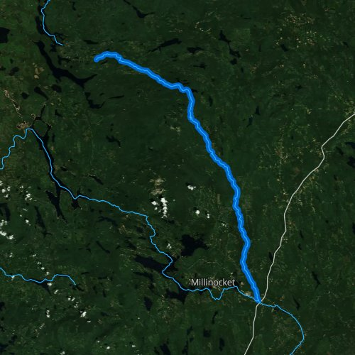 Fly fishing map for East Branch Penobscot River, Maine