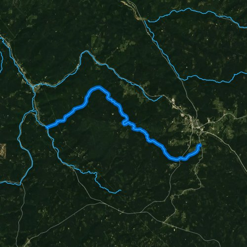 Fly fishing map for East Branch Tionesta Creek, Pennsylvania
