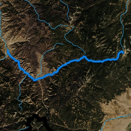 Fly fishing map for East Fork Bitterroot River, Montana