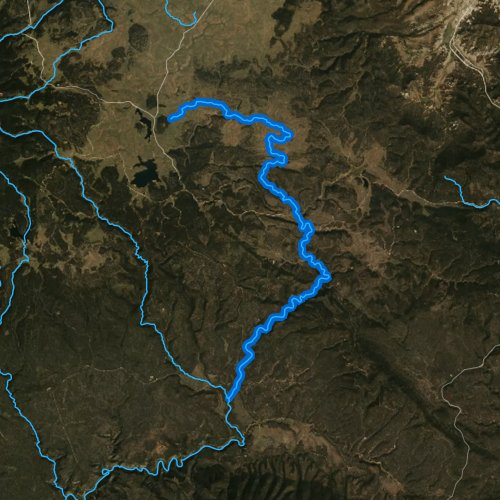 Fly fishing map for East Fork Black River, Arizona