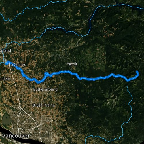 Fly fishing map for East Fork Lewis River, Washington