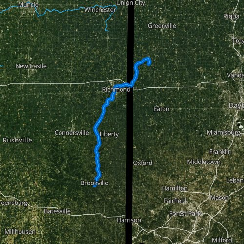 Fly fishing map for East Fork Whitewater River, Indiana