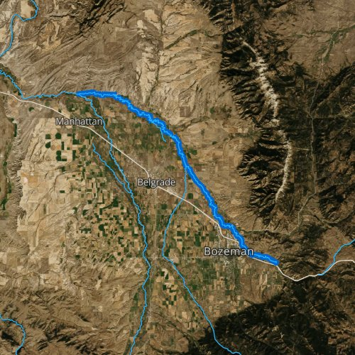 Fly fishing map for East Gallatin River, Montana