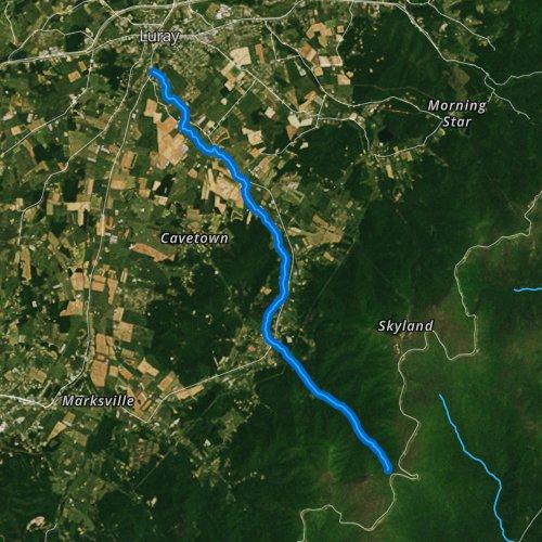 Fly fishing map for East Hawksbill Creek, Virginia
